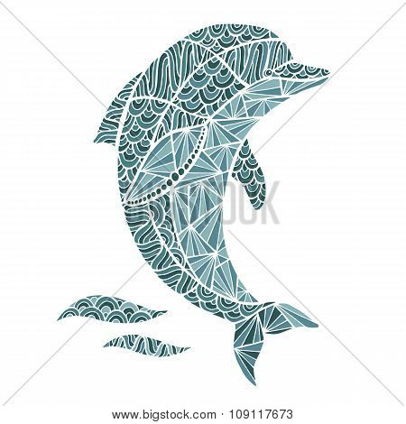 Stylized vector Dolphin, zentangle isolated on white background.