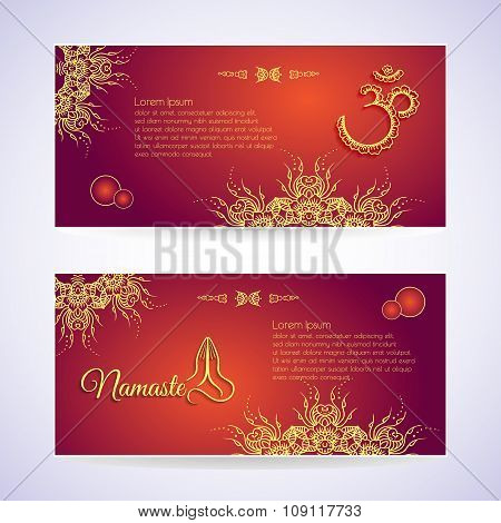 Website Template Yoga card with floral henna mehendi design Om Aum Namaste yoga studio or for a busi