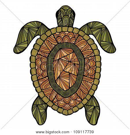 Stylized turtle style zentangle.
