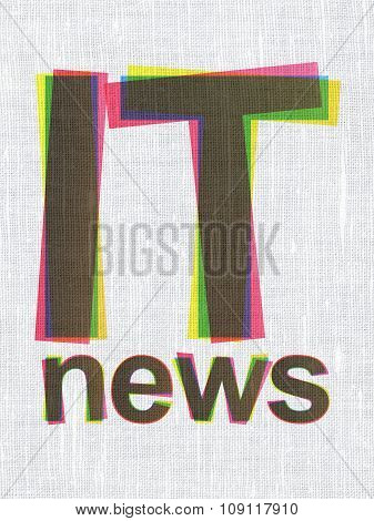 News concept: IT News on fabric texture background