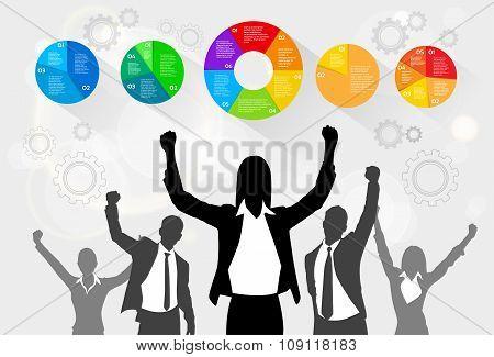 Business People Celebration Silhouette Hands Up, Businesswoman Concept Winner Success Social Media M