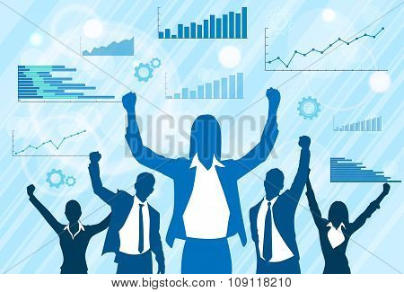 Business People Group Celebration Silhouette Excited Hold Hands Up Raised Arms, Businesswoman Concep