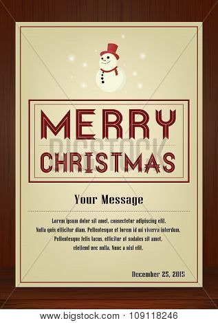 Merry Christmas Greeting card in vintage with snowman symbol on wooden background