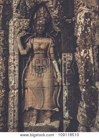 Detail sculpture at Prasat Bayon temple in Angkor, Siem Reap, Cambodia.