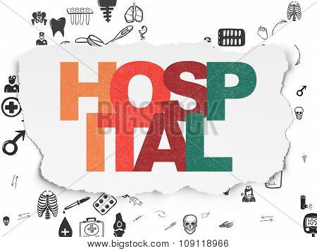 Health concept: Hospital on Torn Paper background