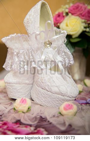 Beautiful white wedding shoes with high heels