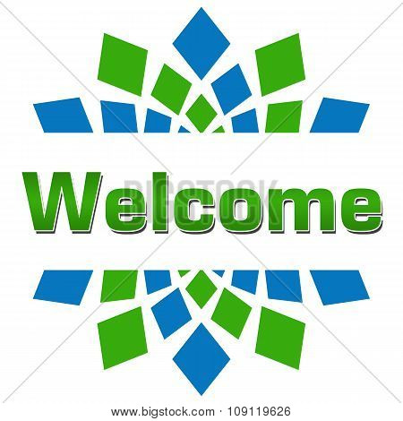 Welcome Green Blue Square Elements