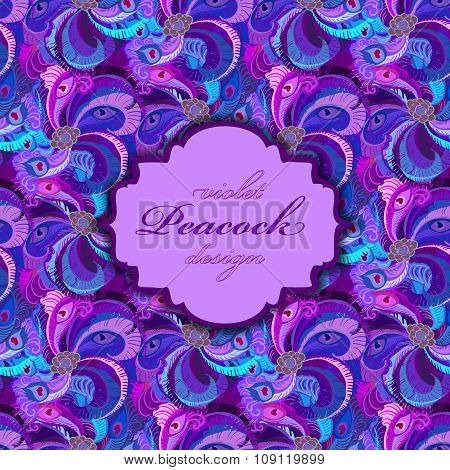 Violet, lilac and blue peacock feathers pattern    background. Vintage label.