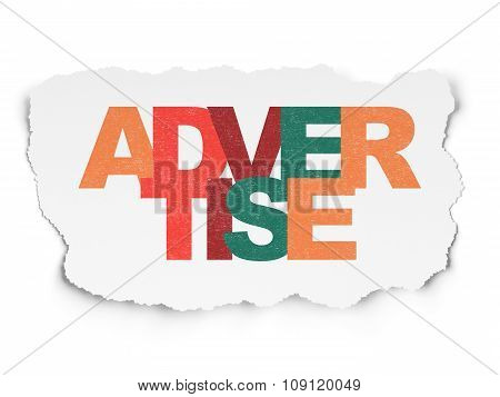 Advertising concept: Advertise on Torn Paper background