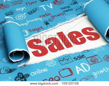Advertising concept: red text Sales under the piece of  torn paper