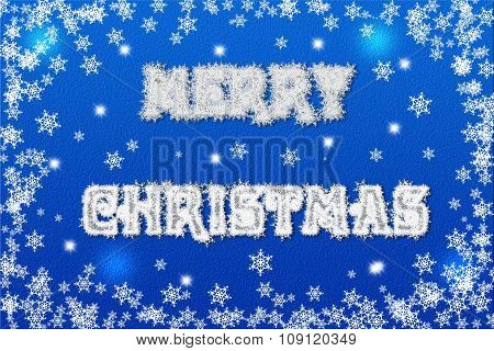 Horizontal blue digital background with white snowflakes and bokeh effect