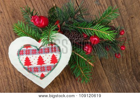 Traditional Christmas Decoration on Wood
