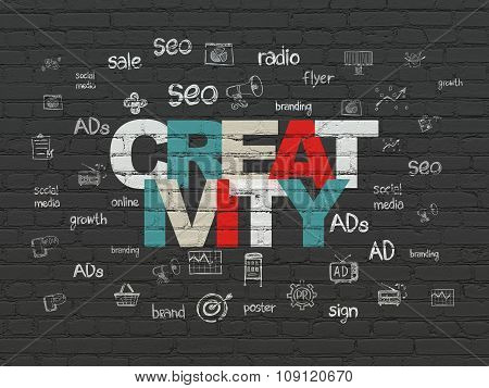Marketing concept: Creativity on wall background