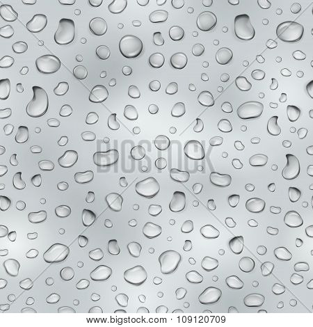 Gray Seamless Pattern Of Water Drops