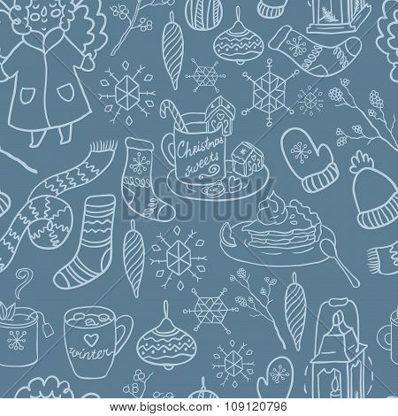 Winter fun hand drawn vector seamless pattern. Decorative traditional elements. Symbols of Christmas