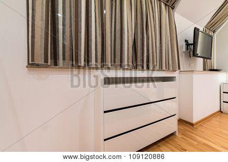 White Wooden Radiator Mask In Modern Apartment