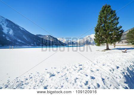 Snowy Mountain Landscape in the Alps near Achen Lake, Austria, Tirol