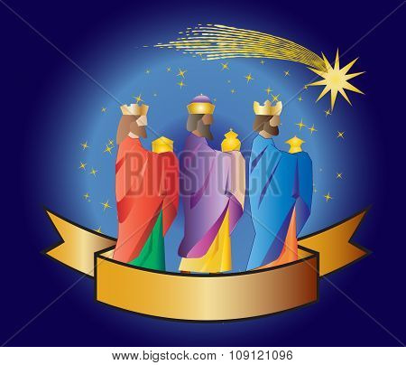 Three Wise Men Or Three Kings. Nativity Illustration.