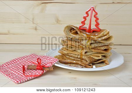 Bunch Of Pancakes With Honey For Christmas