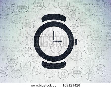 Timeline concept: Hand Watch on Digital Paper background