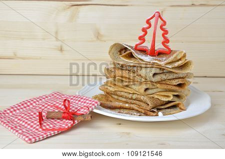 Bunch Of Pancakes And Christmas Decoration