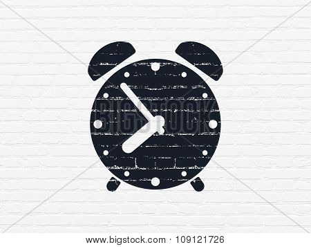 Timeline concept: Alarm Clock on wall background