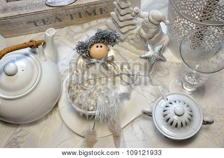 Porcelain Tea Set And Christmas White-silver Decoration