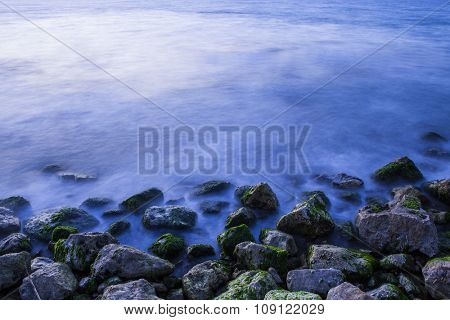 Sea stones at sunset