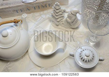 Tea Set And Christmas Decoration