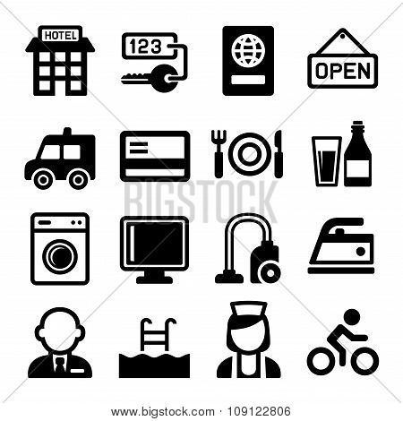 Hotel and Services Icons Set. Vector