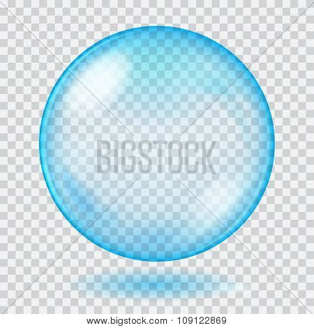Big Blue Transparent Glass Sphere. Transparency Only In Vector File