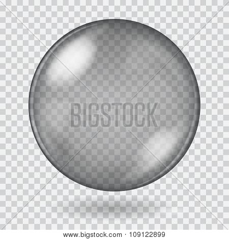 Big Black Transparent Glass Sphere. Transparency Only In Vector File