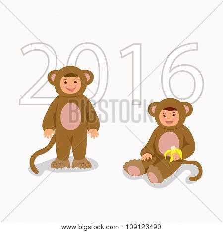 Children in costume monkeys. Isolated characters boy and girl in themed costumes for the New Year an