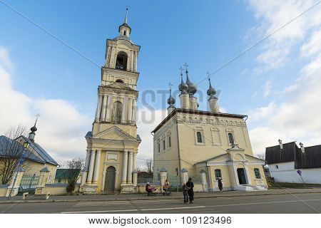 Suzdal, Russia -06.11.2015. Smolenskaya church with  bell tower in Suzdal. Golden Ring of Russia Tra
