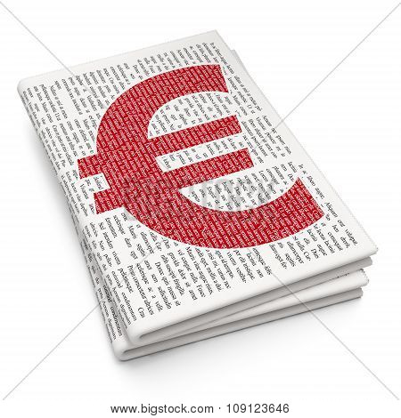 Money concept: Euro on Newspaper background