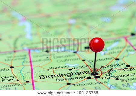 Birmingham pinned on a map of USA