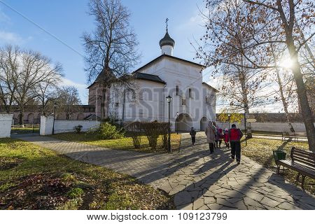 Suzdal, Russia -06.11.2015. Gate Church of the Annunciation at Suzdal was built  16th century. Golde