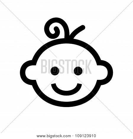 Boy Baby Face Icon Logo. Vector