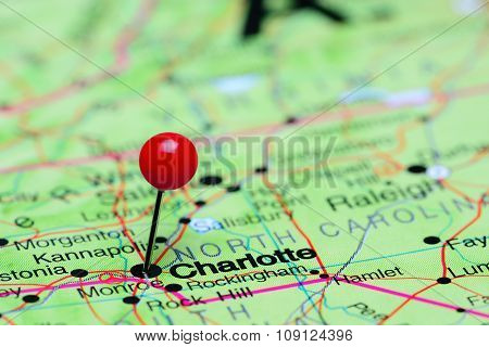 Charlotte pinned on a map of USA