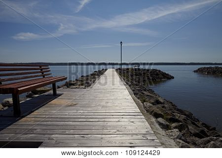 Pier With Bench Backlight