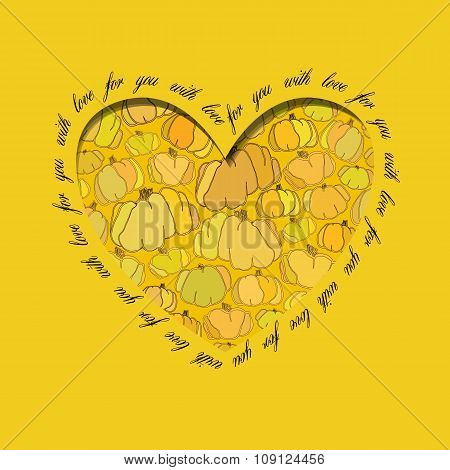Love card. Golden heart design with pumpkin pattern.