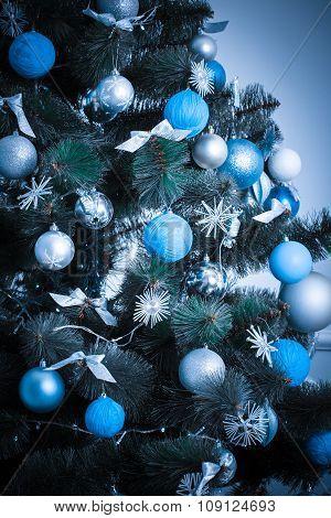 Christmas Living Room With Christmas Tree. Blue Tone