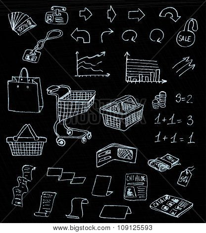 business market shopping doodles in chalkboard background
