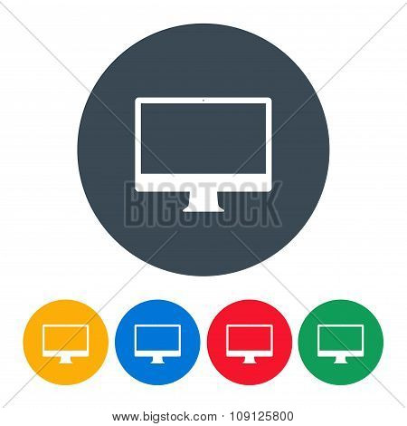 Monitor Icons Colorful Set On The White Background. Stock Vector Illustration Eps10