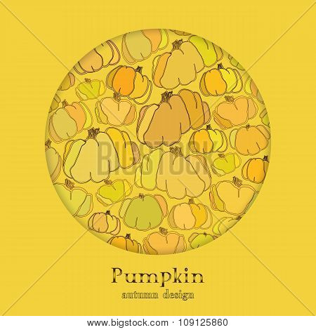 Golden autumn background with circle design pumpkin pattern. Text place.