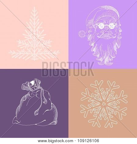 Christmas Snowflake, Santa Claus, Fir-tree, Bag