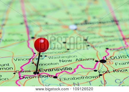 Evansville pinned on a map of USA