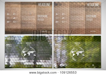 Vector set of tri-fold brochure design template on both sides with world globe element. Park landsca