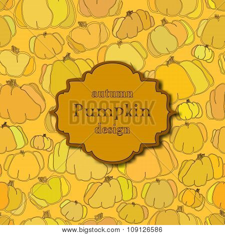 Golden autumn background with seamless pumpkin pattern and retro label.