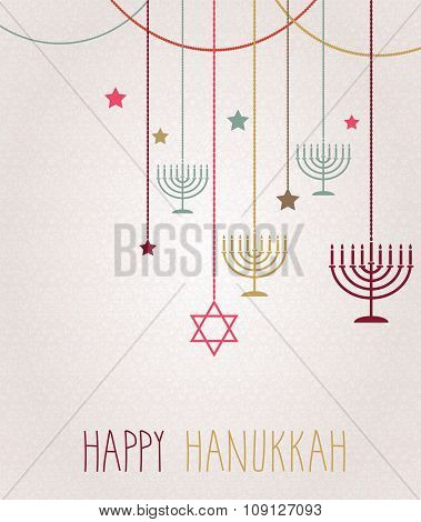 Hanukkah card. Hanging colorful menorah